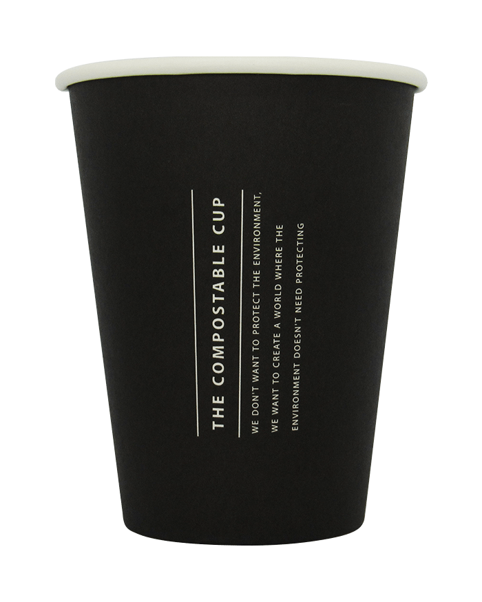 The Compostable Cup - black eco friendly cup with white printed writing